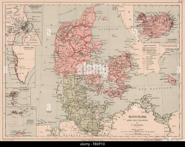 DENMARK & COLONIES. Iceland Copenhagen Danish West Indies Greenland, 1880 map - Stock Image