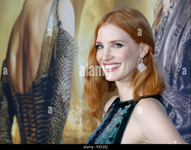 Los Angeles, California, USA. 11th Apr, 2016. Jessica Chastain at the Los Angeles premiere of 'The Huntsman: - Stock Image