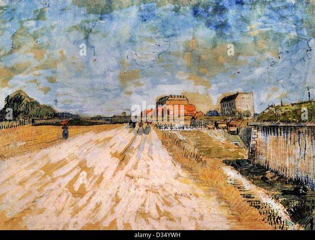 Vincent van Gogh, Road Running Beside the Paris Ramparts. 1887. Post-Impressionism. Watercolor. Van Gogh Museum, - Stock Image