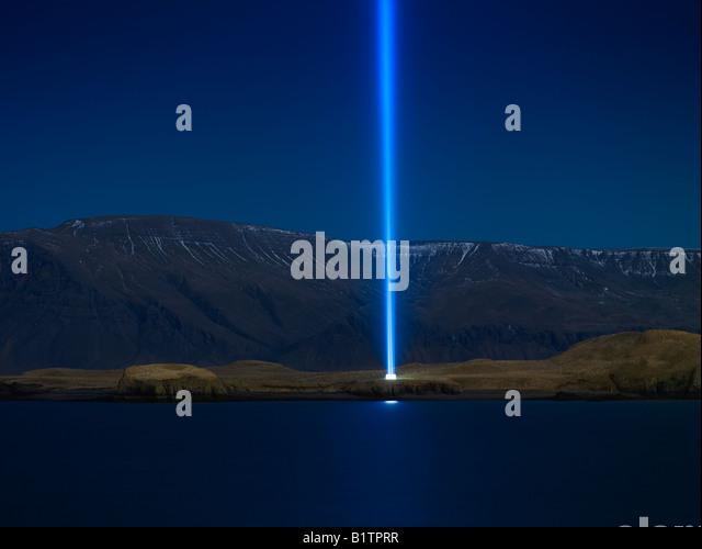 Imagine Peace Tower, Videy Island Reykjavik Iceland - Stock-Bilder