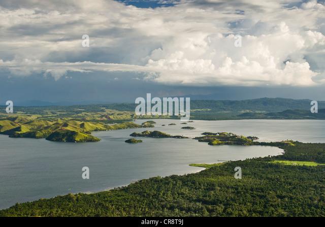Dramatic clouds over Lake Sentani, Jayapura, West Papua, Western New Guinea, Indonesia, Asia - Stock Image