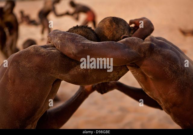 Senegalese traditional wrestling, Dionewar Senegal - Stock Image