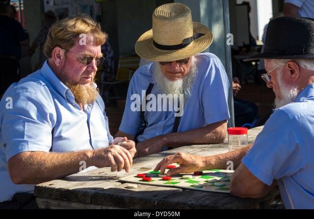 Sarasota Florida Pinecraft Amish Mennonite community winter retreat typical conservative traditional clothing man - Stock Image