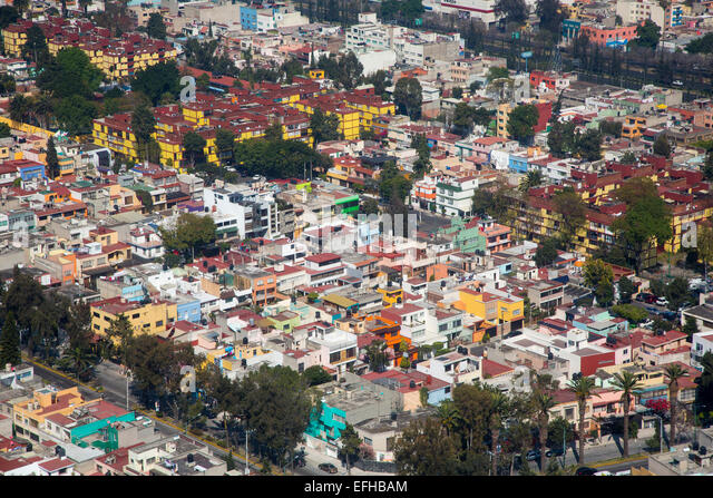 Mexico City, Mexico - Colorful housing in Mexico City. - Stock Image