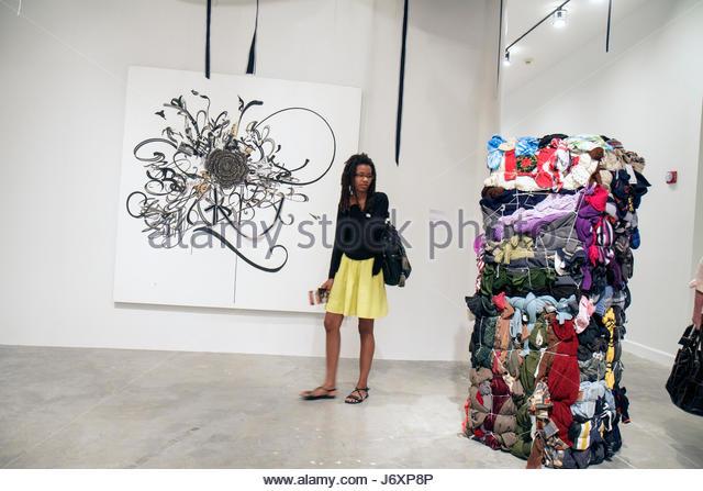North Miami Florida MOCA Museum of Contemporary Art Black teen female student - Stock Image