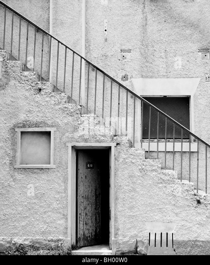 Old Diagonal staircase on an old building. - Stock Image