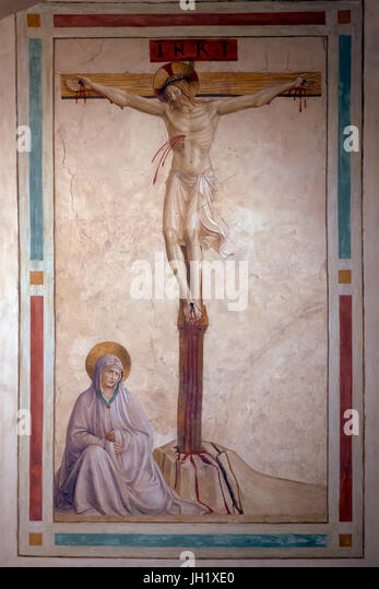 Crucifixion with the Virgin Mary, Cell 22, by Fra Beato Angelico, 1440-1442,  Convent of San Marco, Florence, Tuscany, - Stock Image