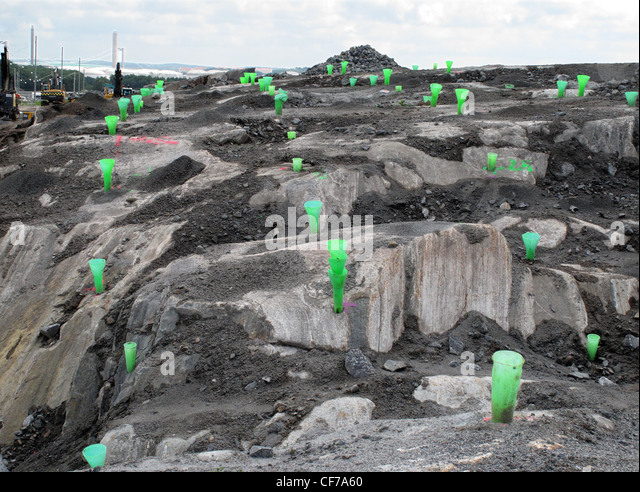 Rock Blasting Equipment : Earth face stock photos images alamy