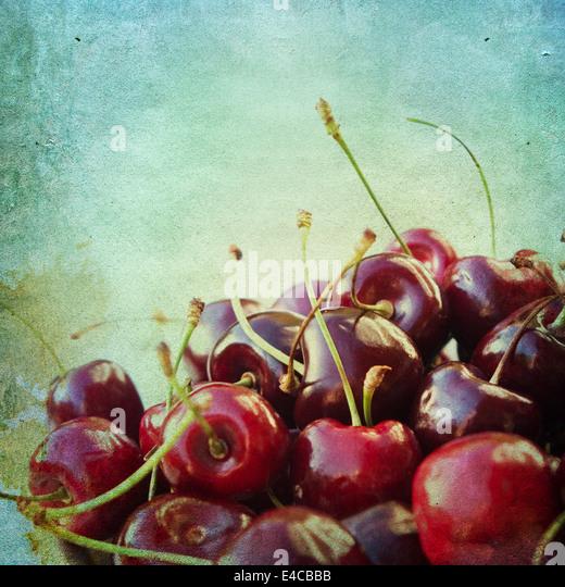 Vintage background with cherries - Stock-Bilder