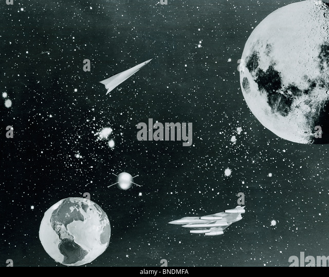Spaceships traveling between planet Earth and moon - Stock Image