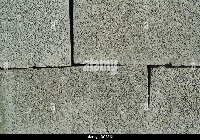 Stacked concrete blocks at a construction site - Stock Image
