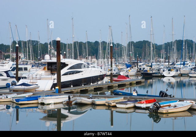 Boats moored on the river Hamble at Bursledon Southampton Hampshire England - Stock-Bilder