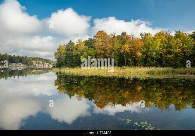 Autumn colours on Charlton Lake, Ontario, Canada - Stock-Bilder