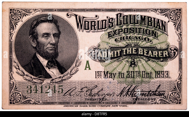 Abraham Lincoln Engraving, Ticket to World's Columbian Exposition, Chicago, Illinois, 1893 - Stock Image