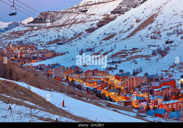 Ski resort in French Alps - Stock Image