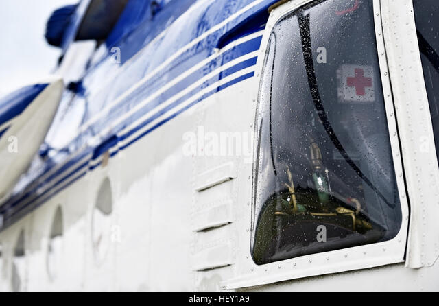 Detail with helicopter fuselage and pilot cockpit - Stock Image