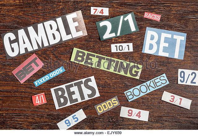 Words relating to betting and gambling - Stock Image