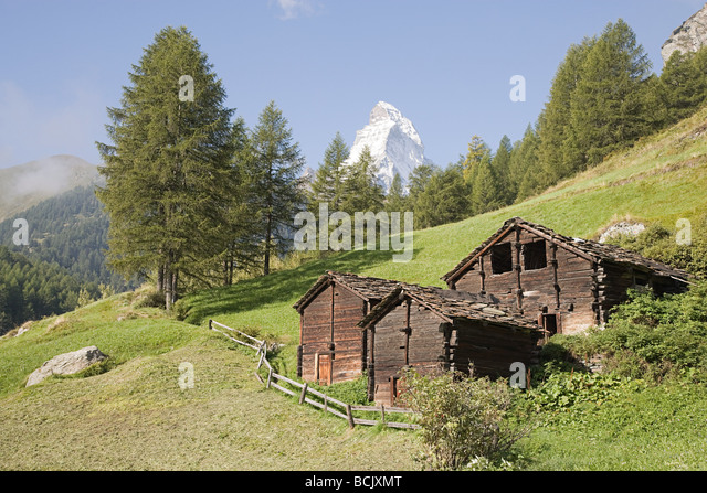 wooden hut near mountain - photo #14