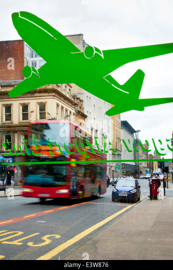 transpoert, Glasgow Bus station artwork_a green painted plane on transparent plastic, Scotland, UK - Stock-Bilder
