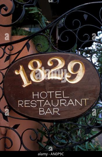 St Thomas USVI sign for landmark 1829  hotel restaurant in Charlotte Amalie - Stock Image