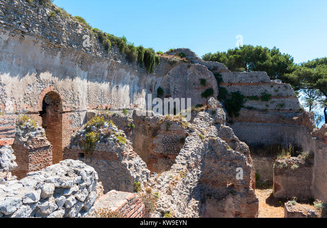 ruins of villa jovis a palace built by emperor tiberius in AD 27 on the island of capri, italy. - Stock Image