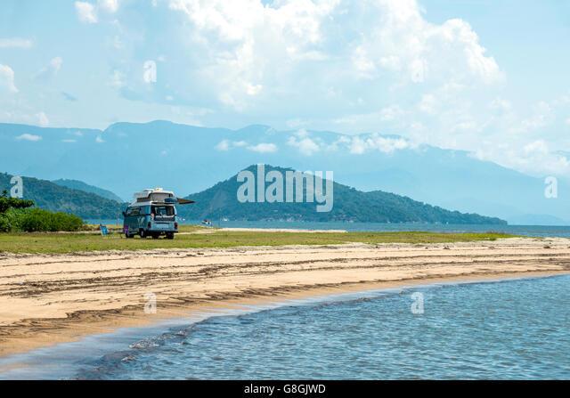 Rio De Janeiro, February 15, 2016 - Tourist camping minivan waiting for tourists in Paraty, state Rio de Janeiro, - Stock Image