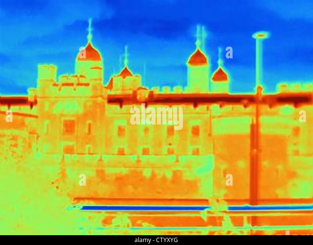 Thermal image of Tower of London - Stock-Bilder