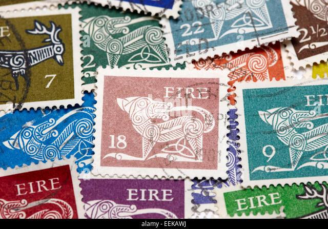 gerl definitives first decimal historic vintage old irish stamps - Stock Image