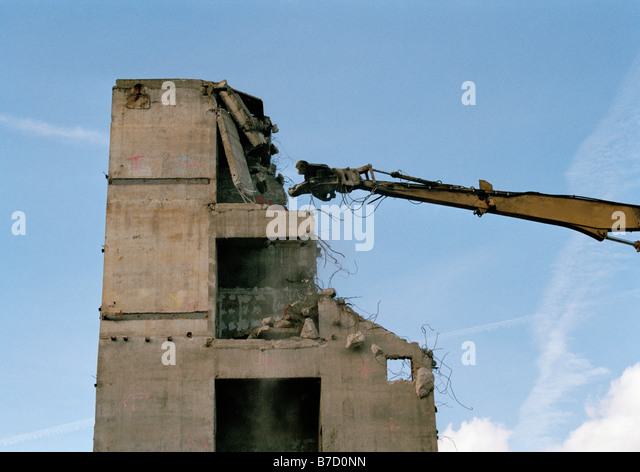Building in the process of being demolished - Stock Image