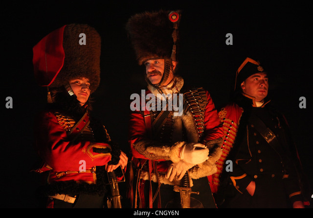 French soldier at Zuran Hill, Czech Republic. Re-enactment of the Battle of Austerlitz (1805). - Stock Image