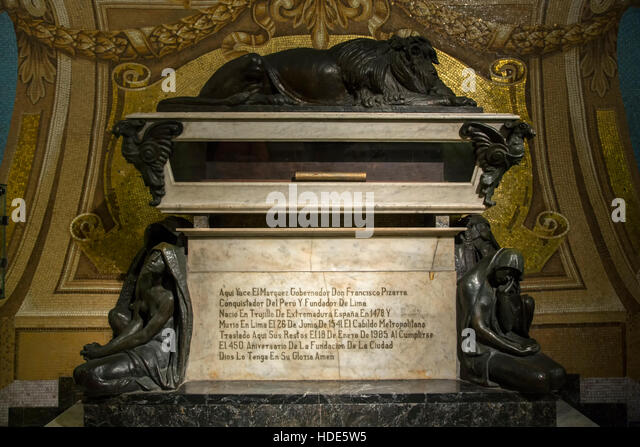 Tomb of Francisco Pizarro, Lima Cathedral, Lima, Peru - Stock Image