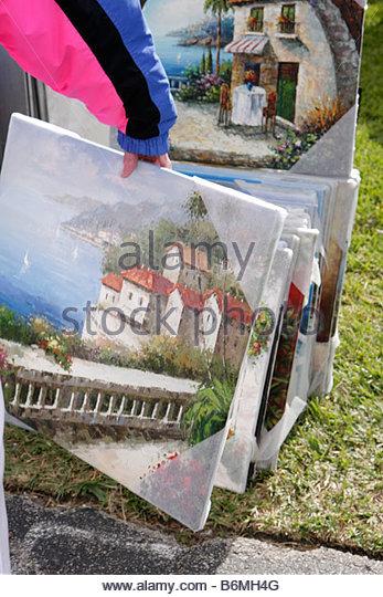 Miami Florida Kendall St. Andrew Greek Orthodox Church Greek Festival man painting canvas art decor Greece landscapes - Stock Image
