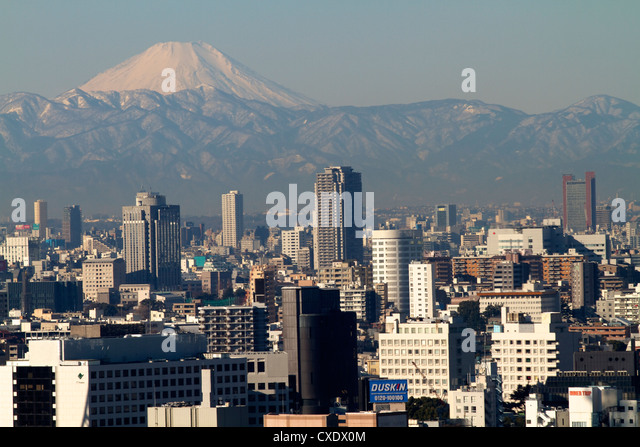 View over city of Tokyo and Mount Fuji, Tokyo, Japan, Asia - Stock Image