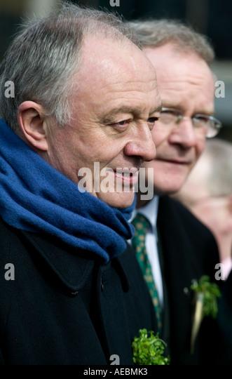 London Mayor Ken Livingstone and Sinn Fein's Martin McGuinness at the St Patrick's Day parade, London, England, - Stock Image