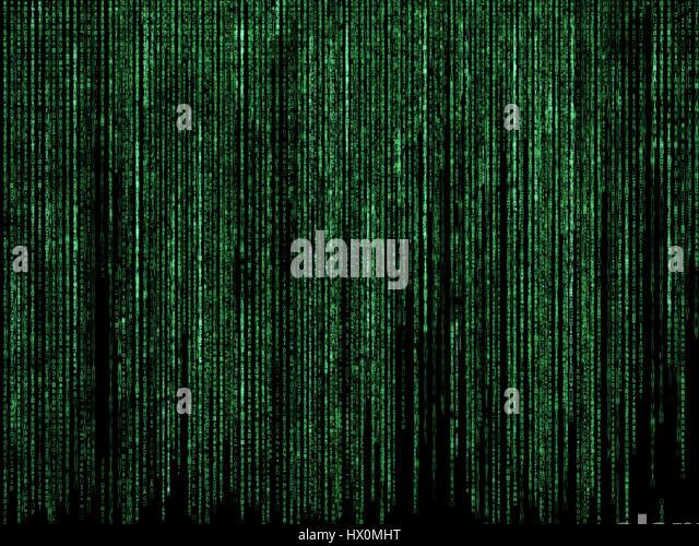 Futuristic background with matrix style code design - Stock Image