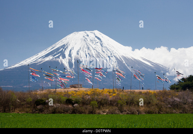 Japan Asia holiday travel Koinobori Children Festival Fuji Mount Fuji Fujiyama mountain snow spring volcano garden - Stock Image