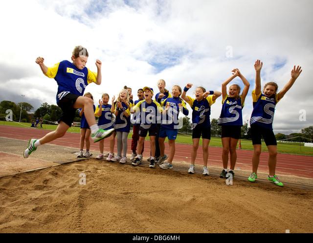 kids on athletics summer camp - Stock Image