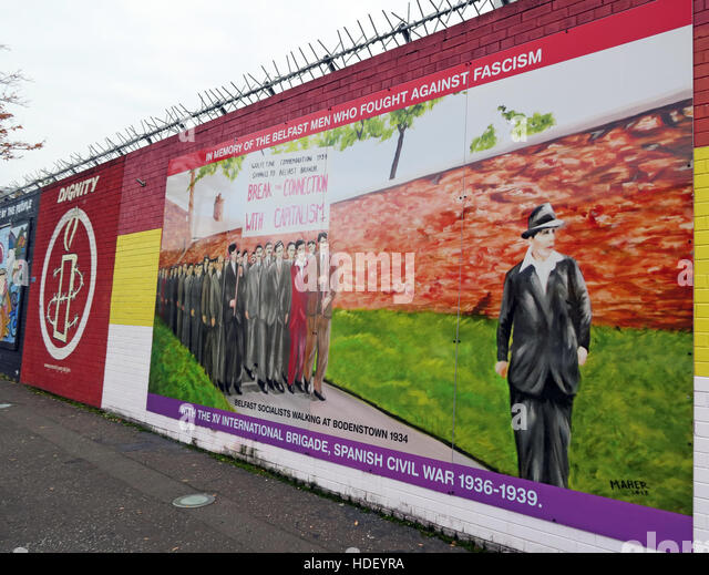 Spanish Civil War - International Peace Wall,Cupar Way,West Belfast , Northern Ireland, UK - Stock Image