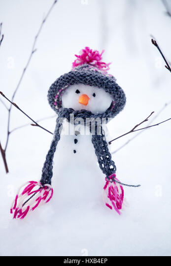 Snowman with handmade hat and scarf - Stock Image