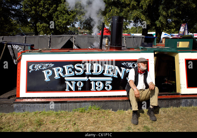 Traditional working narrowboat President moored on the Trent and Mersey Canal during the  2011 Inland Waterways - Stock Image