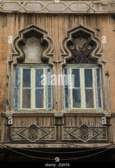 Traditional windows of an old building in Mar Mikhael, Beirut Governorate, Beirut, Lebanon - Stock-Bilder