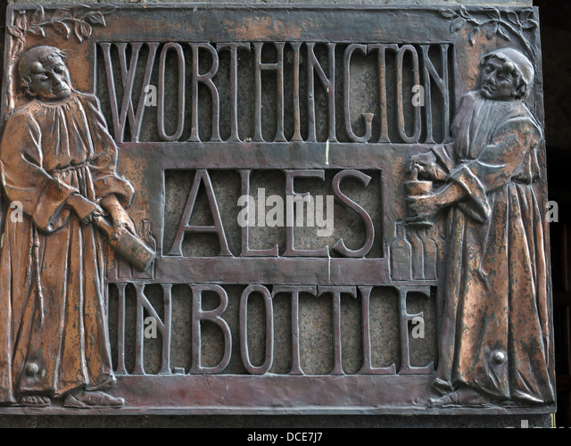 Worthington Ales in bottle copper sign at the Black Friar pub, Blackfriars, London, England UK EC4V 4E - Stock Image