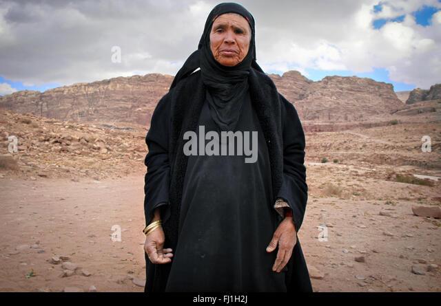 Petra, Jordan  - landscape and beduin people - Stock Image
