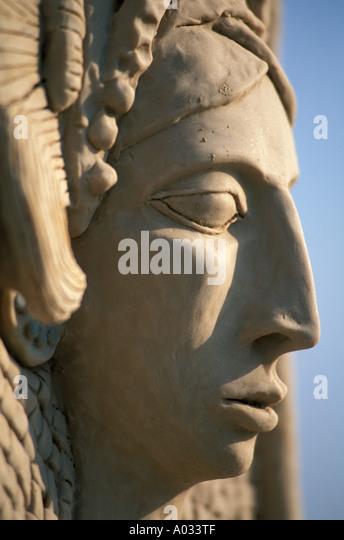 Mexico Maya statue portrait art woman bust female - Stock Image