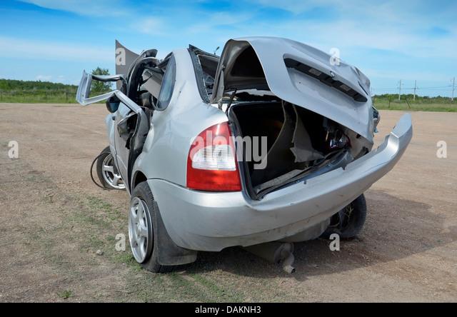 Broken car after car crash - Stock Image