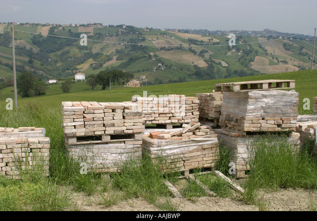 Antique tiles and bricks  are eagerly sort after for building and restoration work in Le Marche Italy - Stock Image