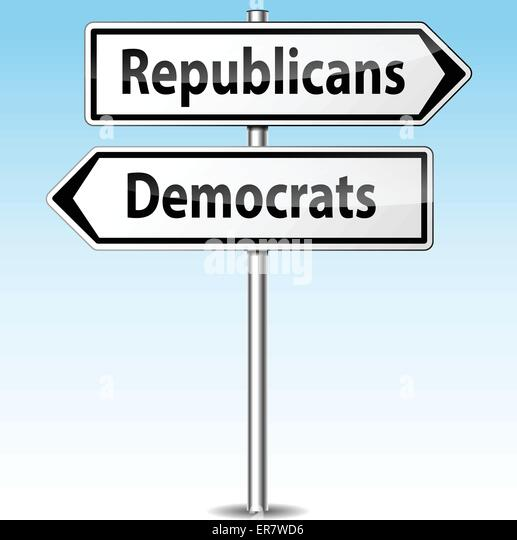 Vector illustration of democrats and republicans directional sign - Stock Image