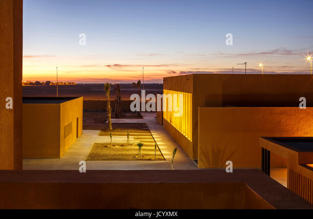 Elevated view of  landscaped square. Laayoune Technology School, Laayoune, Morocco. Architect: Saad El Kabbaj, Driss - Stock-Bilder