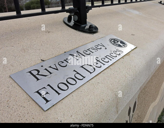 River Mersey Flood Defences,Latchford,Warrington,England,UK - Stock Image