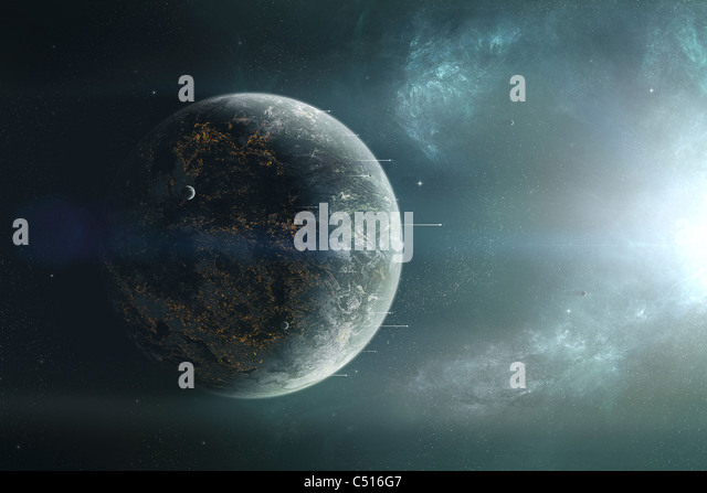 Fleet of colonization ships departing for a discovery trip into a neighboring solar system. - Stock Image